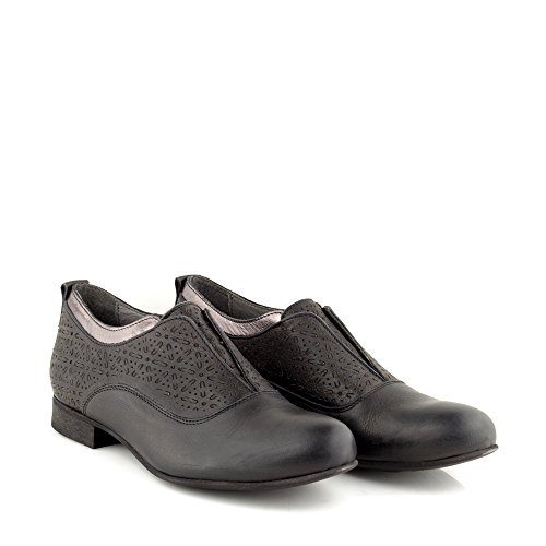 Felmini - Zapatos para Mujer - Enamorarse com Edu 9643 - Zapatos Derby - Cuero Genuino - Negro Negro