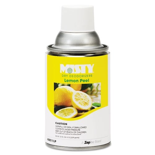 Misty 1001744 Metered Dry Deodorizer Refills, Lemon Peel, 7oz, Aerosol (Case of 12) by MISTY