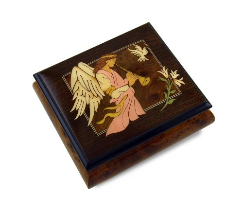 The Wood Inlay Design Features An Angel Playing A Horn / Duduk with 18 Note Tune-Speak Softly Love (The Godfather Theme) - SWISS
