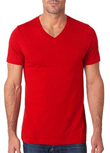 Bella mens Unisex Jersey Short-Sleeve V-Neck T-Shirt(3005)-RED-S (T-shirt Alpha Jersey)