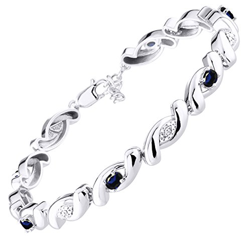 Stunning Sapphire & Diamond Tennis Bracelet Set in Sterling Silver - Adjustable to fit 7