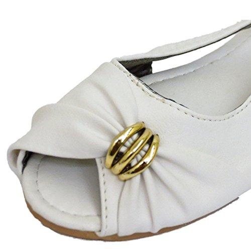 HeelzSoHigh Damen Flache Weiße Zum Reinschlüpfen Peep-Toe Ballerinas Pumps Puppe Sommer Schuhe Größen 3-7