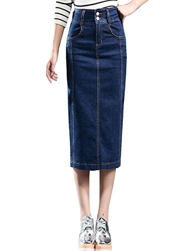 Zhusheng Women's Casual High Waist Stretch Denim Pencil Skirt Pockets Back Slits (8, Blue)