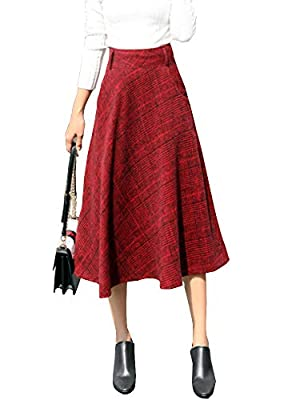 Women's Fall Winter Plaid Pleated Warm Thicken Wool Woolen A-Line Midi Skirts with Pockets