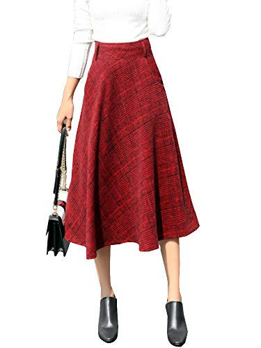 Skirt Wool Red Suit (Women's High Waist Plaid Pleated Warm Thicken Wool Woolen A-Line Midi Skirts Red Tag XL-US L)