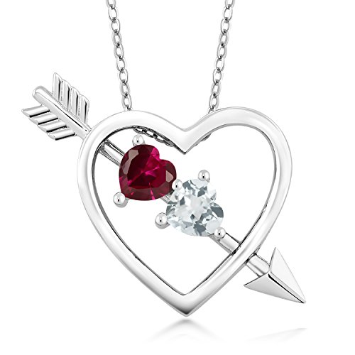 0.98 Ct Red Created Ruby Sky Blue Aquamarine 925 Sterling Silver Heart and Arrow Pendant with 18