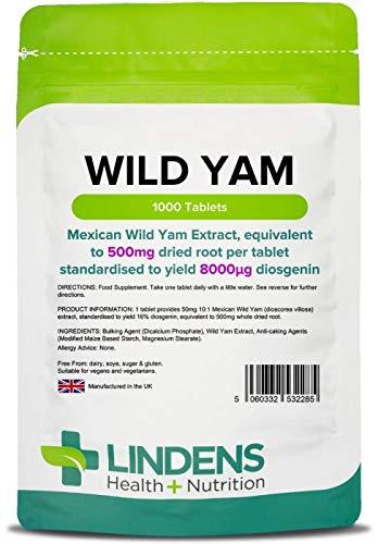 Lindens Ñame silvestre 500 mg en comprimidos | 1000 Paquete | Estandarizado para aportar un 6