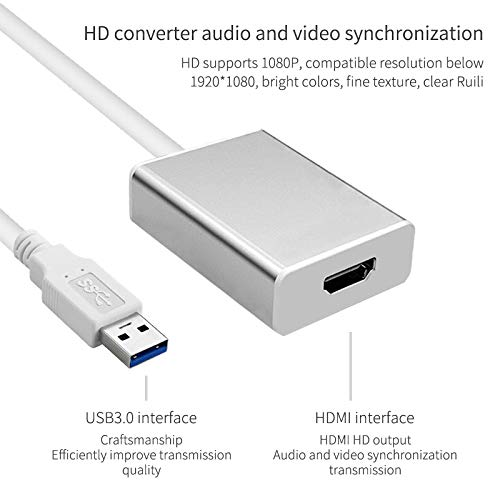 WillBest HD 1080P USB 3.0 to HDMI Converter Adapter Cable USB to HDMI External Video Card Multi Monitor Adapter for Windows 7//8//10 Laptop