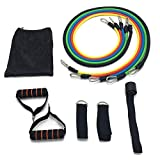 Heigirton Multi-Functional 11-Piece Set Resistance Bands Including 5 Exercise Bands, Door Anchor, Handles, Ankle Straps and Carrying Bag for Workout, Yoga, Fitness, Pilates, Training