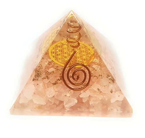 ORGONE Pyramid Rose Quartz with The Flower of Life Symbol,ORGONITE Energy Generator with Crystal Quartz Point & Exquisite Gemstones & Reiki Energy