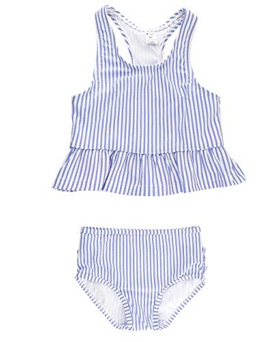 RuffleButts Little Girls Periwinkle Blue Seersucker Peplum Tankini w/Ruffled Bottoms - 3T