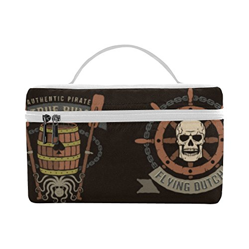 Artsadd Pirate Color Logos With Skulls Insulated Lunch Bag Reusable Lunch Box -