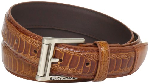 Stacy Adams Men's 32mm Ostrich Leg Embossed Genuine Leather Belt, Cognac, (Stacy Adams Embossed Belt)