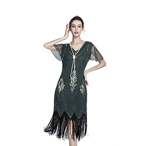 1920 Dresses for Women Gatsby Dresses for Women Sequin Flapper Tassels Hem 1920s Great Gatsby Themed Roaring 20s Dresses Green (Green 1920s Style Dress)