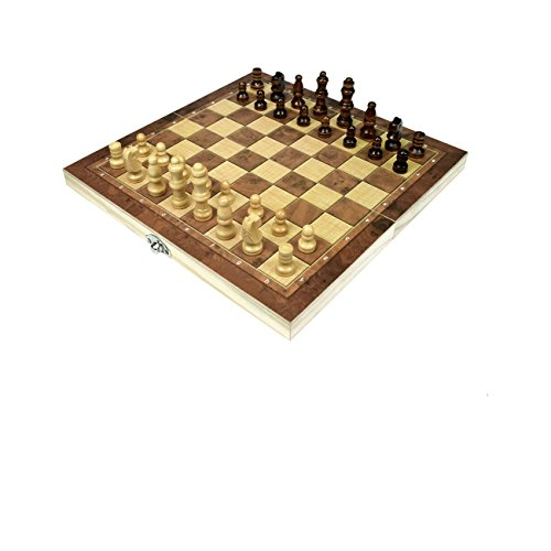 Wooden Chess Set for Kids and Adults, Portable Chess and Checkers Set with Folding Interior Storage Pocket Checkers Game Board and Travel Chess Board (10