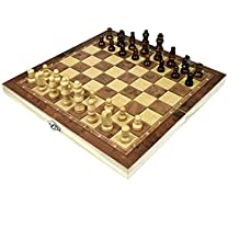 "Wooden Chess and Checkers set with Portable Folding Interior Storage Travel Chess Game Board (10"" x 10"" x 1.5"")"
