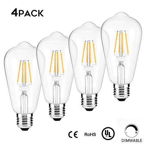 Edison LED Light Bulb,4-Pack, Dimmable, E26 Medium Base,60 Watt Equivalent, Warm White 3000K, ST64, Antique Vintage Style Light, Squirrel Cage Filament,WAWUI (Clear Glass-4-Pack)