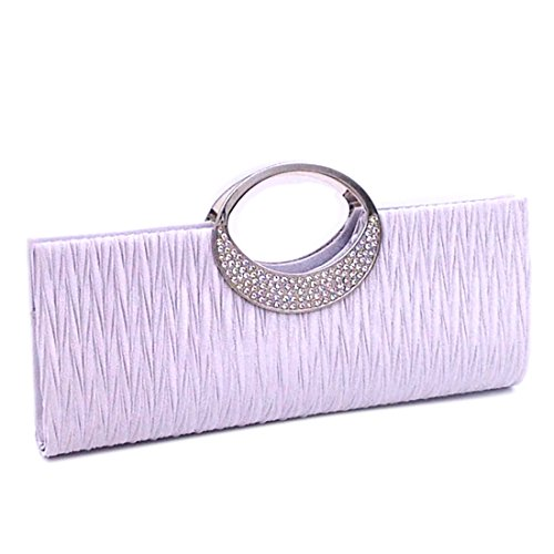 Handbags Wallet Satin Verus Diamante Wedding Silver Women Party Purse Clutch Pleated Bag Rhinestone PvTxfwvHq
