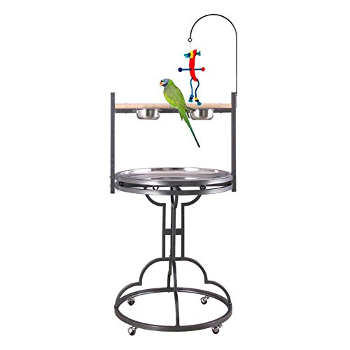 HQ Play stand with Stainless Steel Tray and Toy Hook, 28-Inc