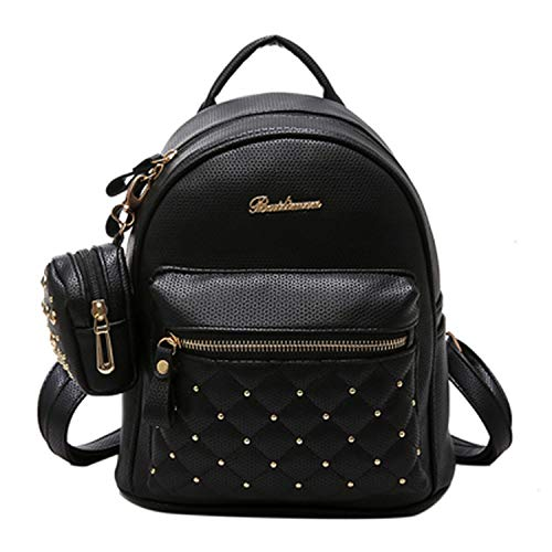 PU Leather Bag Small Women Mini Backpack Mochila Feminina School Bags,black ()