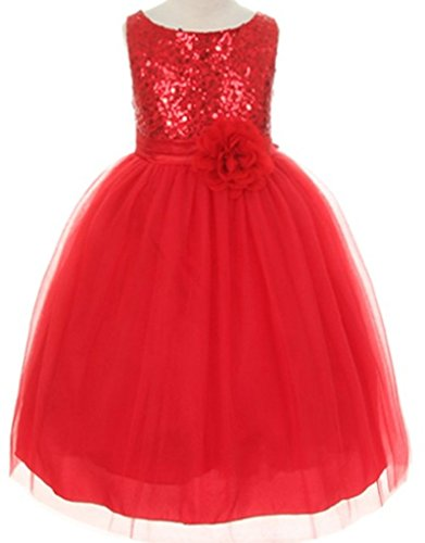 AkiDress Sequin Bodice with Triple Tulle Dress for Little Girl Red -