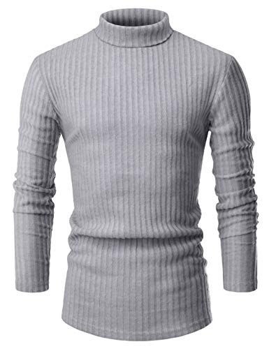 - NEARKIN (NKNKPO92 Mens Long Sleeve Trendy High Neck Thermal Knitted Sweaters Gray US S(Tag Size S)