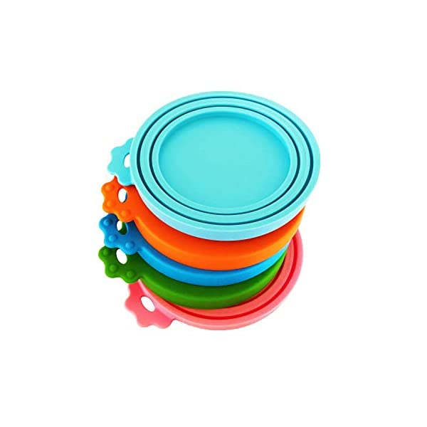 DYBEN Pet Can Covers/Dog Cat Food Can Lids/5 Pack/Universal BPA Free/Silicone Pet Food Can Lids Covers/Fits Most Standard Size Dog and Cat Can Tops for Pet Food Storage