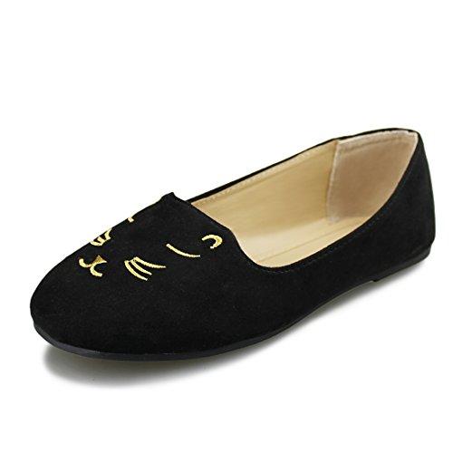 Hawkwell Girls Mary Jane Ballerina Flat Shoes(Toddler/Little Kid/Big Kid),Black PU,10 M US ()