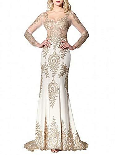 zur¨¹ck up Maxi King's Kleider Applique Abendkleider Rmellose Weiß Lace Lange Prinzessin Vintage Prom Love TwT7PU