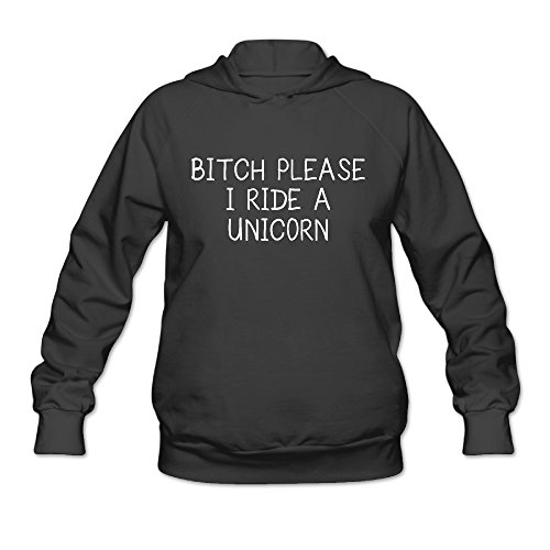 Price comparison product image SAMMOI BITCH PLEASE I RIDE A UNCIORN Women's Fashion Long Sleeve Hoodie M Black