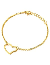 Stylish Stainless Steel Gold Color Anklet Bracelet with Open Heart Charm