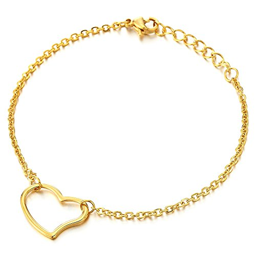 COOLSTEELANDBEYOND Stylish Stainless Steel Gold Color Anklet Bracelet with Open Heart Charm