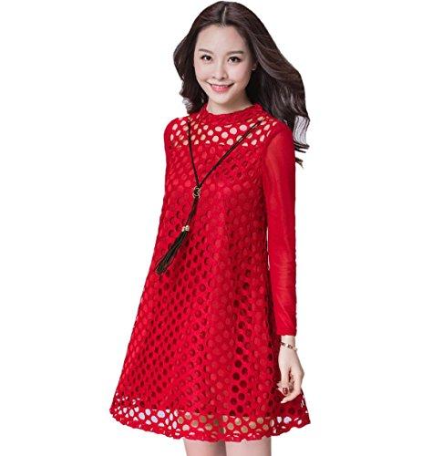 Große Red Kleid Langarm Rundhals Größe Eine Herbst Frühling Linie Und Neu Loose Lace Kleid w7xXTqOW6