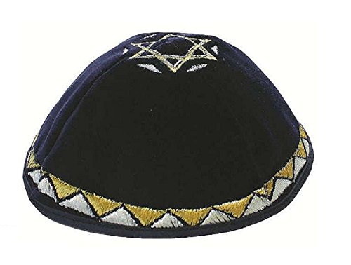 Kippah-Kipah-Yarmulke-Strings-Magen-Davi-Star-of-David-Design-Navy-Silver-Gold-Velvet