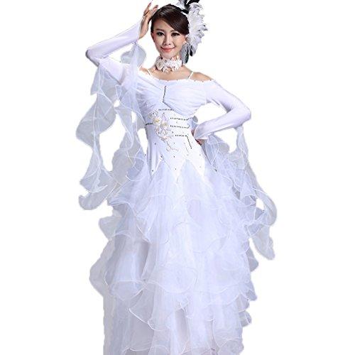 Manica 8 Competizione Performance Le Wqwlf Per Moderno Valzer Abbigliamento Gonna Vestito Costume S Donne Tango xxl Abiti Da Lunga Ballo cr8UUAayzq