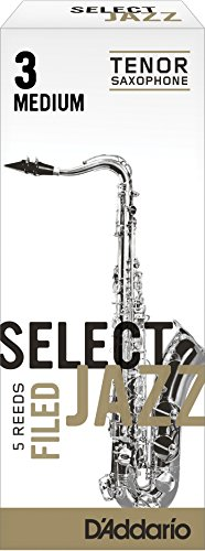 Rico Select Jazz Tenor Sax Reeds, Filed, Strength 3 Strength Medium, 5-pack