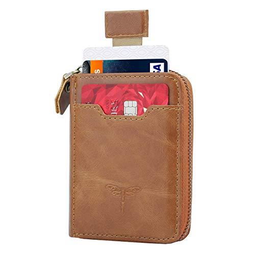 Slim Zipper Wallet Genuine Leather Bifold Wallet with Front Card Holder for Men (Brown))