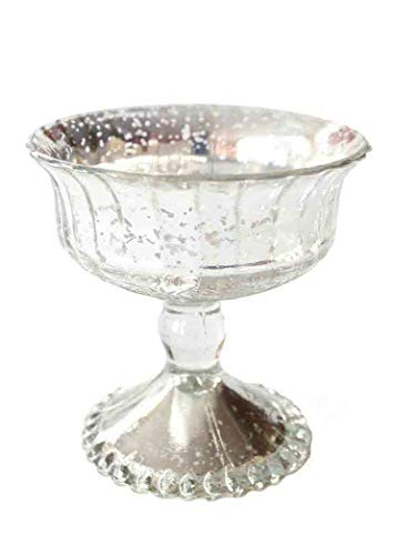 Afloral Antique Silver Mercury Glass Centerpiece Bowl - 4.5
