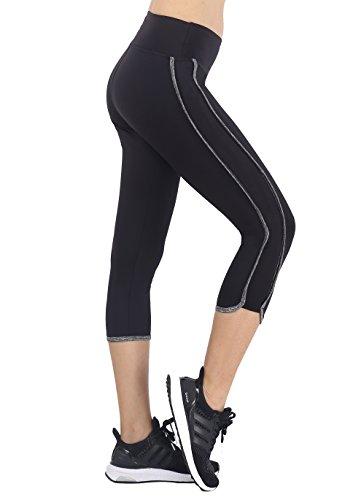 Neonysweets Womens Yoga Pants Capri Fitness Gym Workout Pants Black Gray XL