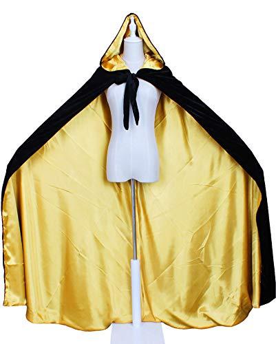LuckyMjmy Velvet Renaissance Medieval Cloak Cape lined with Satin (Plus, Black-Gold)