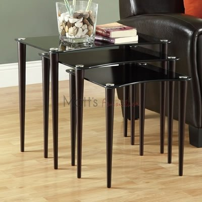 [Monarch Specialties 3-Piece Tempered Glass Nesting Table Set, Cappuccino/Black] (Collection 3 Piece Nesting Table)