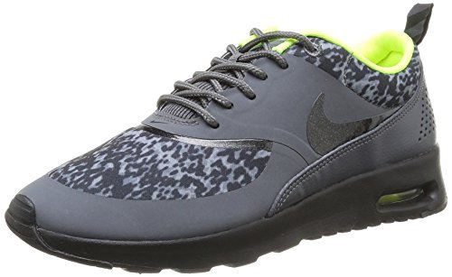 Nike Womens Air Max Thea Fabric Low Top Lace Up, Dark Grey/Black/Volt, Size 5.5