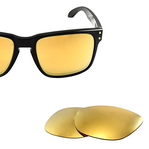 LenzFlip Lens Replacement for Oakley HOLBROOK - Polarized 24K Gold Mirror - Polarized Oakleys Cheap