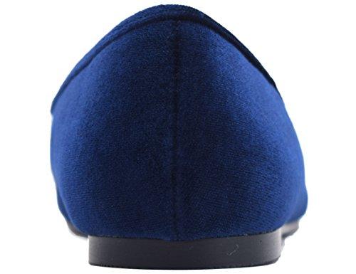Hebillas Bailarinas Bleu Punta 36 Casual Greatonu EU Plana Mujer Punta Diseña 41 velours Redonda Cerrada Sin para dZ0WBqY4B