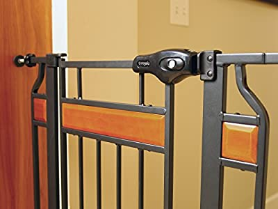 Regalo Home Accents Extra Tall and Wide Walk Thru Baby Gate, Bonus Kit, Includes Décor Hardwood, 6-Inch Extension Kit, 4-Inch Extension Kit, 4 Pack of Pressure Mount Kit and 4 Pack of Wall Mount Kit