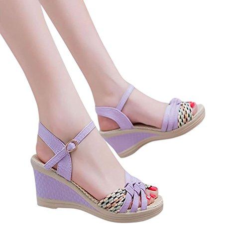 Voberry Sandalen, Frauen Damen Keile Schuhe Sommer Sandalen Plateau Toe High-Heels Lila
