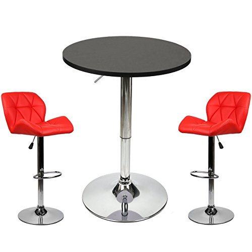 Elecwish Pub Table with Bar Stools Set for Kitchen Home Dining Room ...