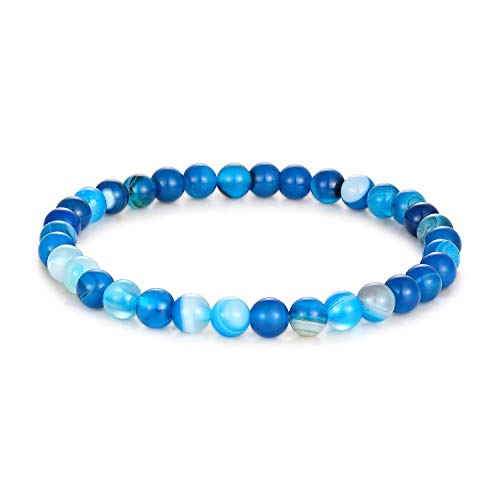 Milo Bruno - 6MM Unisex Natural Semi-Precious Beaded Stone Stretch Bracelet (Blue Lace Agate) - 6.5 ()