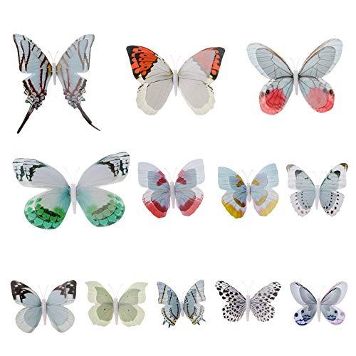 AWAYTR Butterfly Hair Clip Double Wings Realistic 12Pcs DIY Handmade Design Fairy Hair Clips Set for Girl (White-Colored) (Fairies Handmade)