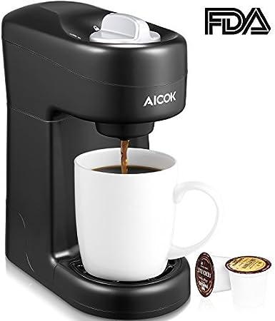 aicok único servir cafetera eléctrica, Máquina de café para la mayoría de cápsulas de taza incluida K-Cup vainas, rápido Brew tecnología, CM805: Amazon.es: Hogar